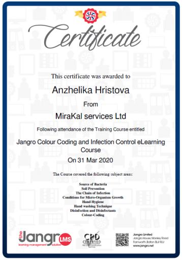 Jangro Colour Coding and Infection Control eLearning Course_Colour Coding and Infection Control Certificate